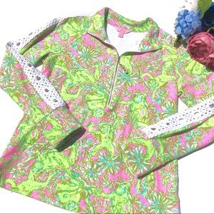 Lilly Pulitzer Popover Size S Monkeys Green Lace